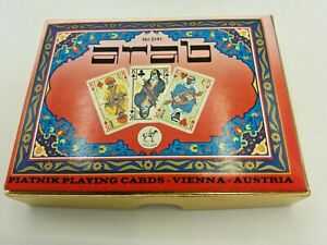 Set Of Vintage Playing Cards Piatnik Arab Double Deck In Box No. 2141