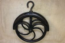 "Old Well Pulley LARGE 11""wheel rustic iron hay loft vintage 1800's #12 fender"
