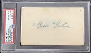 Goose Goslin Signed Index Card Baseball HOF Autograph Tigers Senators PSA/DNA