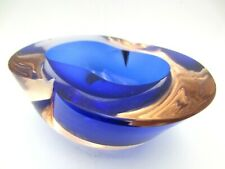 Barbini Cenedese Seguso Poli blue pink Murano MCM sommerso art glass geode bowl