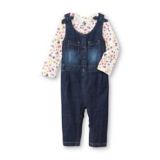 Route 66 Baby Infant Girl's Floral Print Top & Chambray Overalls Set 3-6 Months