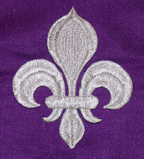 fleur de lys Silver embroidery patch lace applique venise dress dance costume