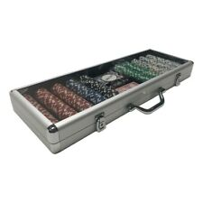 Texas Hold'Em Striped Dice Poker Chip Set 500ct with Aluminum case, game