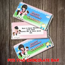 PERSONALISED Horse Riding CHOCOLATE BAR WRAPPER fits Galaxy 114g Birthday Gift