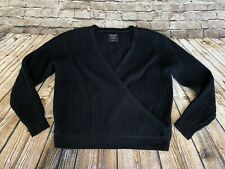 abercrombie fitch Black Cotton Wrap Front Sweater Large