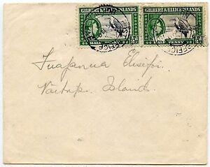 GILBERT + ELLICE INTER ISLAND NUKULAELAE to VAITUPU 2 x 1/2d FRIGATE BIRD 1949