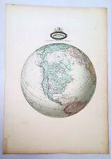 Amérique du Nord - Rarissime Grande Carte Sphéroïdale Garnier de 1860 - 43x61 cm