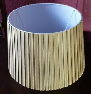 Large Drum Lamp Shade/Light Shade,Faux Silky Old Gold Colour,Pleated,Pleats F/PP