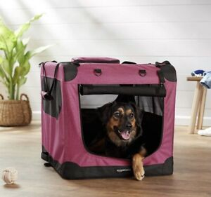 """AmazonBasics Red Premium Soft Pet Crate Travel Carrier Bed 30.1""""x20.7""""x20.7"""""""