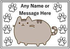 Personalised A4 Cat Dog Pet Feeding Food Water Dinner Mat - Fat Grey Cat