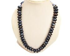 """100% Natural Certified 7x14 mm Blue Sapphire faceted Bead Necklace Gemstone 19"""""""