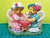 AVON LOVABLE TEDDIES AUNTIE RITA & COUSIN BETTY TEA FOR TWO VTG COLLECTIBLE