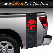 Punisher Skull (Red) Diamond Plate Truck Bed Band Stripe Decal Graphic Kit