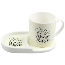 Mrs Always Right Tea Coffee Cup Mug Plate Snack Breakfast Serving Dining Set New