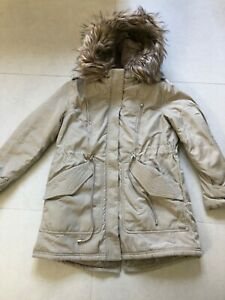 White Stuff Winter Parka. Size 10. Warm & padded coat. Faux fur-lined hood. VGC.
