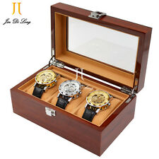 Watch Cases for Men 3 Slots Solid Wood Storage Organizer Display Box Exquisite