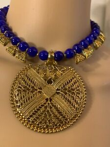 Women  Bollywood Ethnic Gold Plated blue Pearl Necklace Set Party wear Jewelry