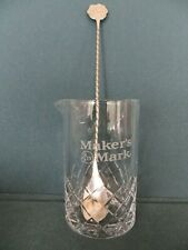 "Maker'S Mark Stirring Spoon & Glass Beaker 5.25"" with Diamond Design New"