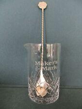"Maker'S Mark Stirring Spoon & Glass Beaker 5.25"" with Diamond Design New"