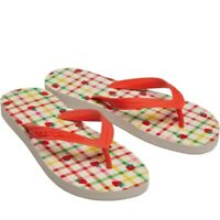 Cath Kidston Shoes Womens Flip Flops Gingham Toe Post Slydes Size 7 or 8 NEW