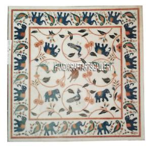 White Marble Top Table Coffee Precious Mosaic Lapis Elephant Patio Decors H2956