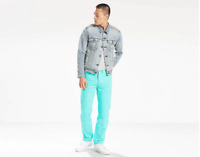 NWT MENS LEVIS 501 BUTTON FLY SHRINK TO FIT JEANS $69 AQUA BLUE 00501-2599