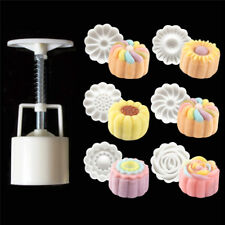 6Pcs Round 3D Plastic Hand Pressing  Moon Cake Mold Pastry DIY Baking Mold Set