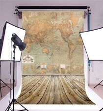 Vinyl World Map Picture 5x7ft Photo Backdrop Photography Background Studio Props