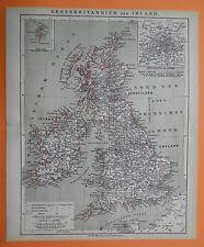 Grossbritannien und Irland England Schottland   historische Landkarte 1879