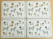 New DOG BREEDS Table Setting PLACEMATS Set x4 Lacquer Cork Board Hand Drawn