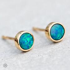 Minimalist Round Australian Doublet Black Opal Stud Earrings 18k Yellow Gold