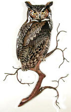 Great Horned Owl Metal Wall Art Sculpture #W8091 by Bovano of Cheshire-Brand New