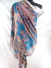 retro floral paisley gold thread viscose pashmina scarf Evening shawl