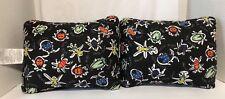 Set of 2 Black Bugs XoXo Travel Polyester Fiber Pillows
