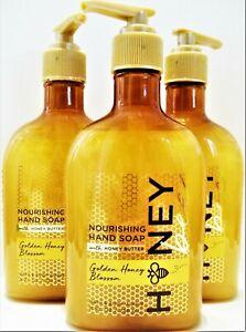 Bath Body Works GOLDEN HONEY BLOSSOM Nourishing Hand Soap, 8 fl. oz, NEW x 3