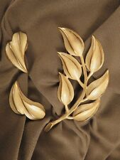 Silver Tone on Gold Tone Metal Leaf Pin w Clip Earrings by Act ll  (573)