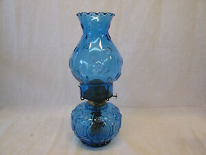 Vintage Moon and Stars Pattern Glass LE Smith Oil Lamp COLONIAL BLUE Eagle L E