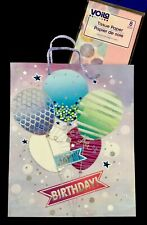 Glittered Happy Birthday Large Gift Bag Set w/Tissue Paper, Balloon Themed, New