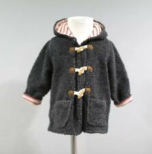 Baby Boden Faux Fur Coat Jacket 12 18 Months Gray Hooded Toggle