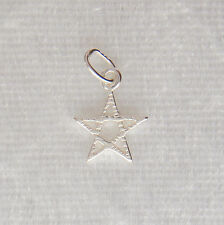 Sterling Silver Pentagram Patterned Star Charm Small 9mm 925