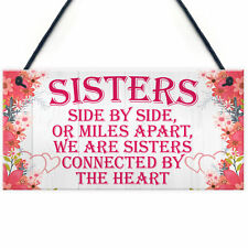 Sisters Connected By The Heart Cute Hanging Wall Sign Gift Best Sister Plaque