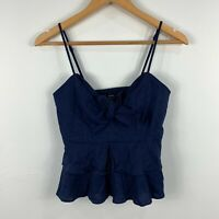 Bardot Womens Cami Top Size 6 Blue Sleeveless Elastic Ribbon Back Cropped