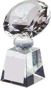 Longest Drive / Nearest the Pin Dimond Crystal Golf Trophies Free Engraving