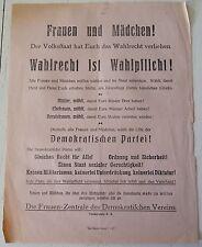 RARE RARITÄT TRACT FLUGBLATT WEIMAR REPUBLIK WAHLPLICHT 1919 WAHLEN DEUTSCHLAND