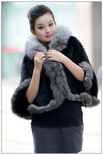 100% Real Genuine Knitted Mink Fur Fox Collar Cape Stole Shawl Scarf Coat Winter