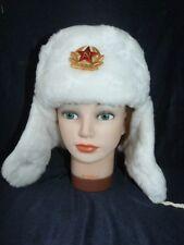 Blanco militar ruso soviético Sombrero + Insignia Clásico Unisex Ushanka Cálido & Fancy