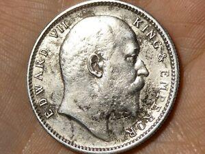 1910 India Edward VII One Rupee Silver Coin British Raj #R84