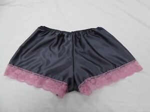 Charcoal Polyester Satin French Knickers in 14/16 with Pink Lace