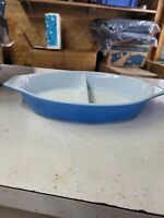 Vintage Blue Pyrex 1.5 Quart DIVIDED Casserole DISH No lid
