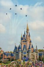 US Navy Blue Angels over Cinderella Castle, Walt Disney World Florida - Postcard